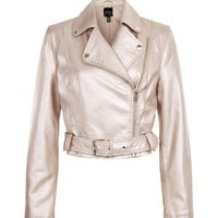 Pink Metallic Leather-Look Biker Jacket