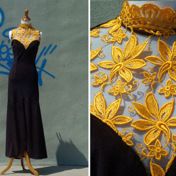 80s Vintage Velvet (M) Baroque Pattern Mesh Mermaid Dress Black Sweetheart Neckline