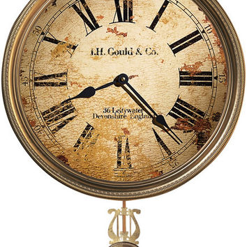 0-012706>J.H. Gould and Co. III Wall Clock Antique Brass