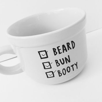 "22 OZ Jumbo White Ceramic Coffee Mugs - ""Beard, Bun, Booty Checklist"""