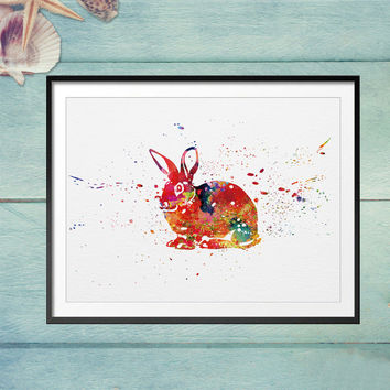 Rabbit Art Wall Painting Animal Art Watercolor Paint Rabbit Home Wall Hanging Art Unframed