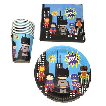 Batman Dark Knight gift Christmas 60pcs/lot Happy Birthday Party Batman/Superman/Iron man Plates Decorate Cups Boys Favors Super Hero Theme Baby Shower Napkins AT_71_6