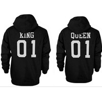autumn winter womens mens casual sports sweater lover KING QUEEN hoodie sweatshirt gift 60