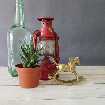 Brass Rocking Horse/ Small Rocking Horse/ Vintage Rocking Horse/ Nursery Decor/ Gold Nursery Decor/ Vintage Baby Decor/ Gold Baby Shower