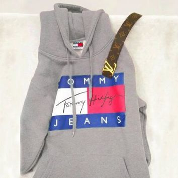 Kalete TOMMY HILFIGER  THREE COLOR  HOODIE FASHION WOMEN MEN SWEATER