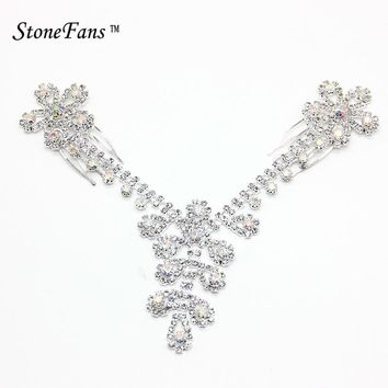 StoneFans Flower Bridal Wedding Hair Accessories For Women Ab Crystal Jewellery Headband Rhinestone Hair Clips Claw Jewelry Gift