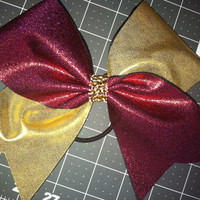 Burgendy / Maroon  Mystique / Gold Mystique Cheer Bow