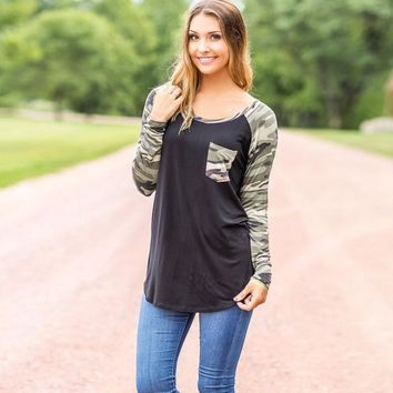 Camouflage Camo Long Sleeve Raglan Shirt For Women
