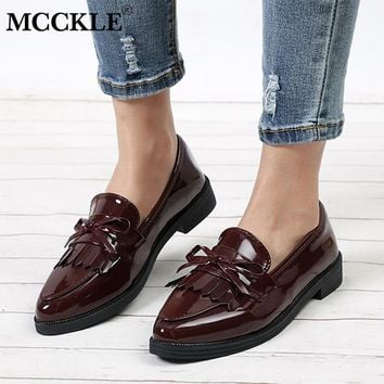 MCCKLE Women Low Heels Fashion Bowtie Platform Female Autumn Shoes Fringe Chunky Heel Flat Shoe Casual Footwear Oxford Shoes