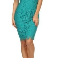 Pretty in Teal Illusion Lace Evening Dress