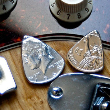 Presidential Coin Guitar Picks-- 1965 Silver Kennedy Half Dollar & Zackary Taylor Dollar Guitar Picks