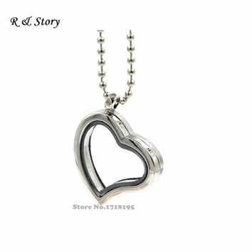 White K Curved Heart Living Memory Locket Necklace Pendant & Chain For Floating Charms Gift LFL_098