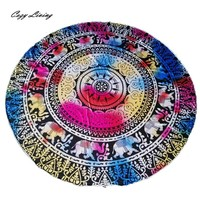 Elephant Round Table Cloth, Beach Towel, Table Cloth, Yoga Mat