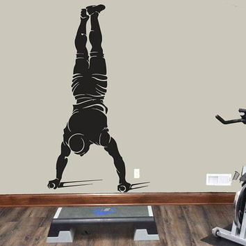 Street Workout Wall Decal, Muscle Man Workout Wall Sticker, Workout Wall Decor, Garage Gym Wall Decal, Fitness Workout Wall Decal Art  se060
