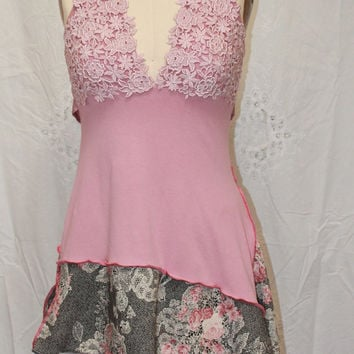 Rose blush Halter dress lace top  Altered womens clothing party blouse  top XS-S  wearable artsy clothing