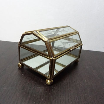 Vintage Glass and Brass Chest Shaped Box with Mirrored Bottom and Etched Design on Lid - Hollywood Regency/Mid Century Modern
