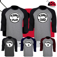 Price for 1 Raglan - Thing Mom Dad 1 2 3 4 T Shirt Dr Seuss Couple Perfect Matching Tee Swag Hip Hop Baseball Tee 3/4 Sleeve