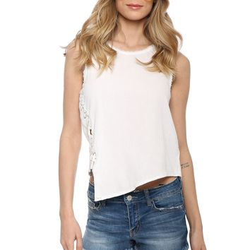 Tractr Blu Apolla Lace Up Top