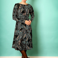 Black midi dress – Long sleeve dress - Modest  dress with paisley print