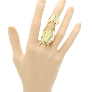 Gold Armour Knuckle Connected Chain Full Finger Ring