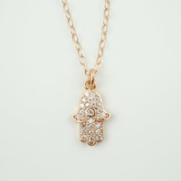 Hamsa Necklace,Tiny Hamsa Charm, Rose Gold Necklace, Dainty Necklace, Cubic Zirconia Necklace, CZ, Minimalist Necklace