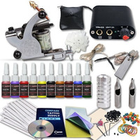 Complete Tattoo Kit Machine, Color Inks, Power Supply,Starter Kit, Needles YBB1