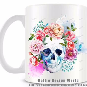 Mexican sugar skull Day of the Dead mug funny novelty travel cup 11oz White coffee milk mugs Personalized Birthday Easter gift