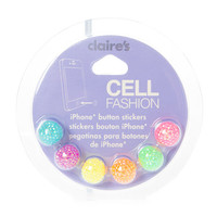 Neon Glitter Ball Cell Fashion iPhone Button Stickers