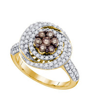 Cognac Diamond Fashion Ring in 10k Gold 0.99 ctw