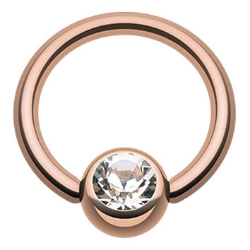 Rose Gold Plated Glass-Gem Ball Captive Bead Ring