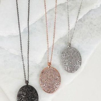 PEAPVA6 Oval Pave Necklace and Earring Set - 3 Options