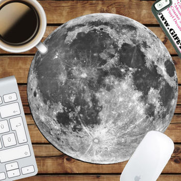 Full Moon Circle Mouse Pad - Mousepad - CoWorker Teacher Gift - Lunar - Space - Galaxy - Crater - Solar System - Science