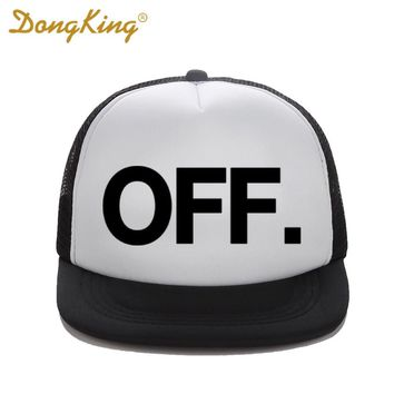 DongKing New Fashion Trucker Hat  OFF Letter Printed Cool Baseball funny Snapback Mesh Cap Christmas Gift 10 Colors