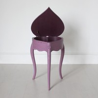 Heart-Shaped Side Table with Lifting Lid