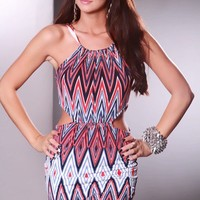 Red Multi Zig Zag Pattern Cutout Sides Halter Tie Sexy Party Dress