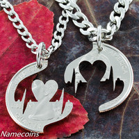 Heart Beat Couples Necklace, Pulse jewelry hand cut coin