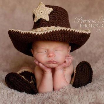 Baby Cowboy Boots - Baby Cowboy Outfit - Baby Cowboy Hat - Newborn Photo Prop - Cowboy Hat - Cowboy Boots - Crochet Cowboy Hat - Photo Prop
