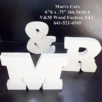 MR & MRS Wedding Reception Stand Alone Wood Letters Unfinished Style 6 Stk No. M-6-.75-6-SA