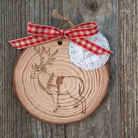 Reindeer Wood Ornament, Woodland Christmas Ornament, Rustic Christmas Ornament, White Pine Wood Ornament, Deer Gift, Cabin Ornament