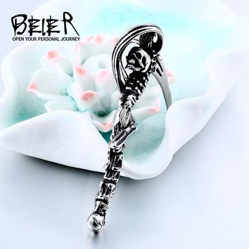 BEIER Punk chokers stainless steel chain necklace men Death scythe skull headphones pendant statement necklaces BP8-311