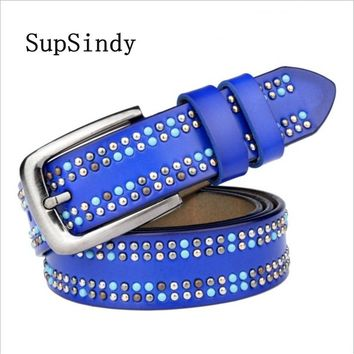 SupSindy New Women Leather Belt Punk luxury Color Rivets Pin Buckle Female Waistband Black Leather Belts for women high quality