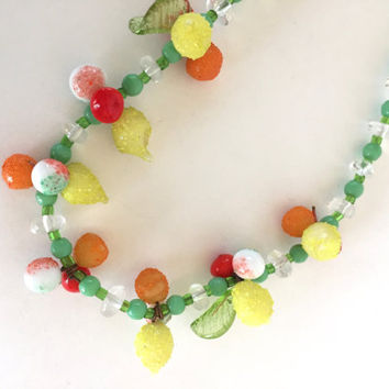 Italian Glass Handmade Vintage Venetian Tropical Fruit Salad Necklace from the Island of Murano, Italy - 1980s Sweet Vintage!