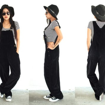 Vintage 90s VELVET Black Straight Leg Low Waist OVERALLS // Hipster Grunge // XS Extra Small / Small