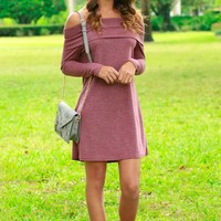 Long Sleeve Off-The-Shoulder Dress Wine