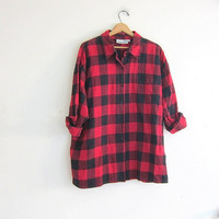 vintage black and red checkered shirt / button up shirt // lumberjack shirt / women's flannel shirt plus size 3x