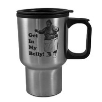 14oz Get In My Belly!-Fat Bastard Stainless Steel Travel Mug W/Handle L1 great for Austin Powers fans