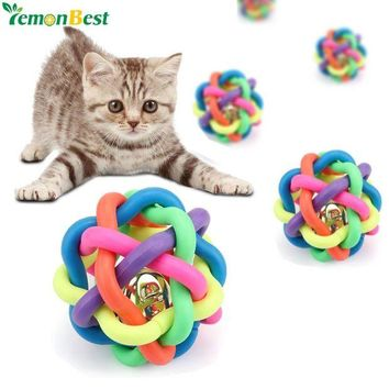 LMFIJ5 1pc Colorful Pet Toys For Cat Dog 6cm Funny Rubber Pet Toy Ball With Small Bell Plastic Chew Balls Toy Dogs Training Play Toys