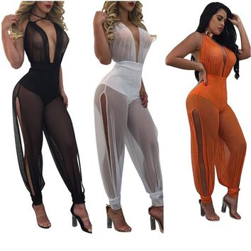 2017 Summer New Sexy Jumpsuits Wide Leg One Piece Outfits Full Bodysuit See Through Backless Mesh Rompers Womens Jumpsuit