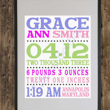 Custom Birth Announcement Print