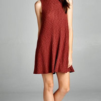 Keep it Cozy Ribbed Trapeze Dress - Rust